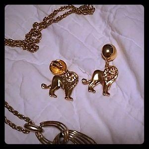 Gold Lion Clip-on Earrings
